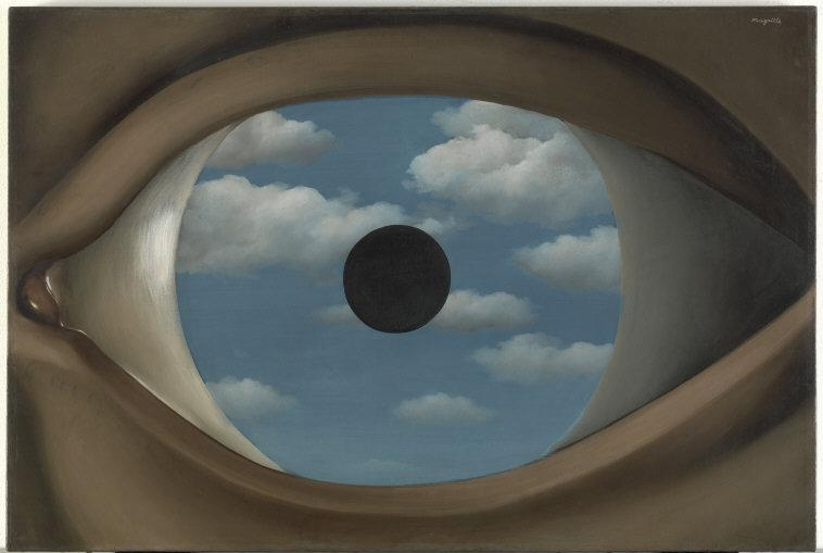 "René  Magritte,  (1898-1967) © ARS, NY   The False Mirror. 1928. Oil on canvas, 21 1/4 x 31 7/8"" (54 x 80.9 cm). Purchase. © 2010 C. Herscovici, Brussels / Artists Rights Society (ARS), New York    Location:   The Museum of Modern Art, New York, NY, U.S.A.    Photo Credit:   Digital Image © The Museum of Modern Art/Licensed by SCALA / Art Resource, NY    Image Reference:   ART164213"