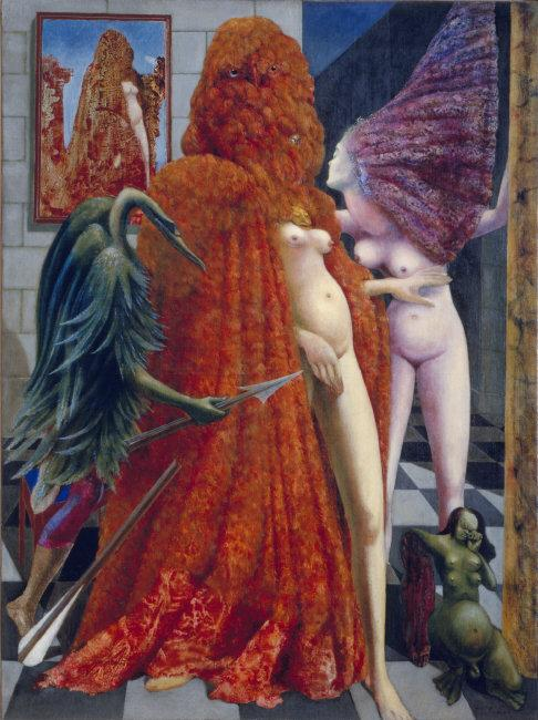 Max  Ernst,  (1891-1976) © ARS, NY    The Attirement of the Bride  (La Toilette de la mariée), 1940. Oil on canvas, 129.6 x 96.3 cm.    Location:   The Solomon R. Guggenheim Foundation, Peggy Guggenheim Collection, Venice    Photo Credit:   Cameraphoto Arte, Venice / Art Resource, NY    Image Reference:   ART39675