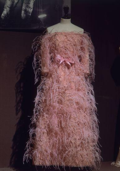 Balenciaga Cristobal    Evening Gown from pin feathers. 1965.    Location:  Balenciaga Exhibition, Lyon, France.   Photo Credit:   Album / Art Resource, NY    Image Reference:   orz114271