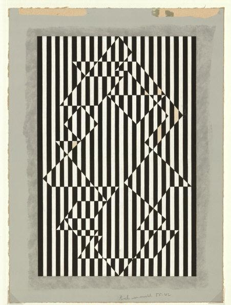 Victor   Vasarely, (1908-1997) © ARS, NY   Lucon. 1956. Gouache on paper, 48 x 35 cm (papser size), 39 x 26 cm (image size). Inv. D 8551,219. Photo: Stefan Behrens.    Location:   Sprengel Museum, Hannover, Germany    Photo Credit:   bpk Bildagentur / Art Resource, NY    Image Reference:   ART518865