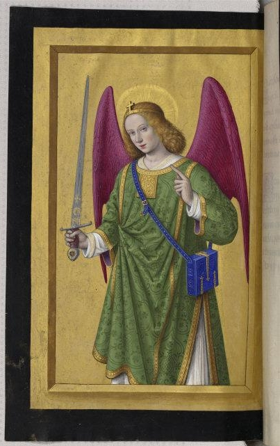Jean   Bourdichon, (c.1457-1521)   The Archangel Raphael. Grandes Heures d'Anne de Bretagne. Horae ad usum romanum. Ca. 1500-1508 (?). Parchment. LATIN9474 folio165verso.    Location:   Bibliotheque Nationale de France (BnF), Paris, France    Photo Credit:   © BnF, Dist. RMN-Grand Palais / Art Resource, NY    Image Reference:   ART481216
