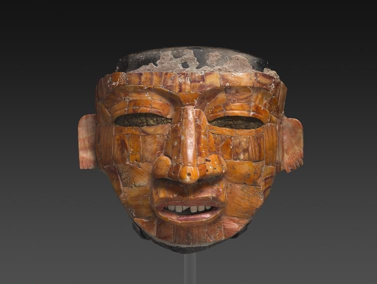 Shell Mosaic Ritual Mask. Teotihuacan, Mexico, A.D. 300/600. Stone and spondylus shell with stucco, 18 x 21 x 11 cm (7 1/8 x 8 1/4 x 4 5/16 in.). Through prior gifts of Mr. and Mrs. Arthur M. Wood and Mr. and Mrs. William E. Hartmann; Robert Allerton Trust; through prior gifts of Ethel and Julian R. Goldsmith and Mr. and Mrs. Samuel A. Marx; Morris L. Parker Fund; restricted gifts of Cynthia and Terry Perucca and Bill and Stephanie Sick; Wirt D. Walker Trust, Bessie Bennett, and Elizabeth R. Vaughn funds; restricted gifts of Rita and Jim Knox and Susan and Stuart Handler; Edward E. Ayer Fund in memory of Charles L. Hutchinson and Gladys N. Anderson Fund; restricted gift of Terry McGuire; Samuel P. Avery and Charles U. Harris Endowed Acquisition funds, 2012.2.    Location:   The Art Institute of Chicago, Chicago, U.S.A.    Photo Credit:   The Art Institute of Chicago / Art Resource, NY    Image Reference:   ART527457