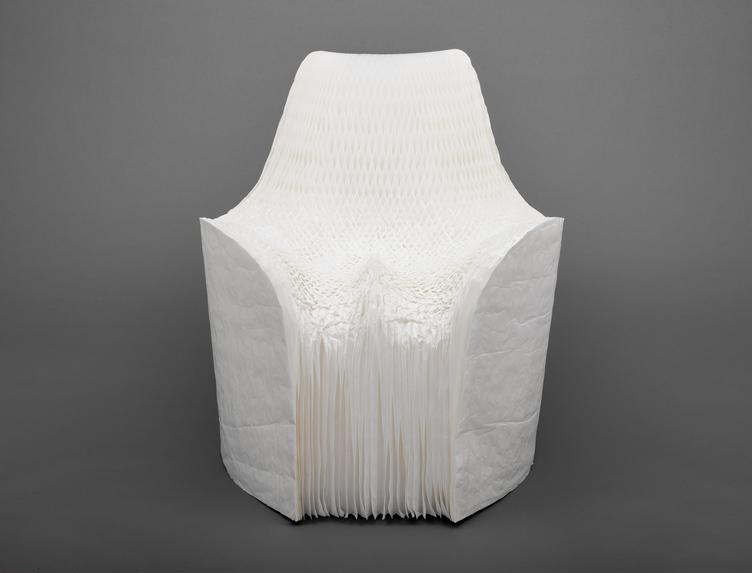 Tokujin  Yoshioka,  (b. 1967) © Copyright    Honey-Pop Armchair , 2001. Honeycomb-paper construction, 79.4 x 81.3 x 81.3 cm (31 x 32 x 32 in.) (unfolded). Restricted gift of the Architecture & Design Society, 2007.111.    Location:   The Art Institute of Chicago, Chicago, U.S.A.    Photo Credit:   The Art Institute of Chicago / Art Resource, NY    Image Reference:   ART528370