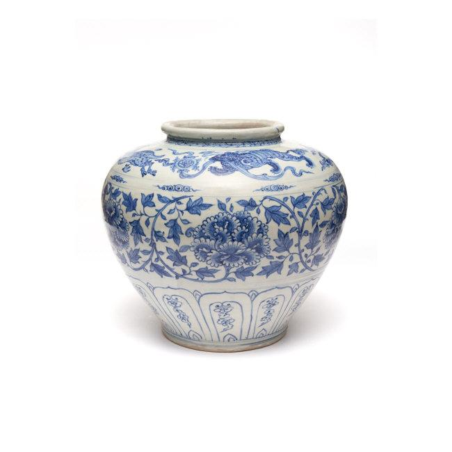 Storage Jar. 15th century. Vietnam. Stoneware painted with underglaze cobalt blue. H. 13? x Diam. 14 in. (33.3 x 35.6 cm). Asia Society, New York: Mr. and Mrs. John D. Rockefeller 3rd Collection, 1979.98. Photography by Synthescape, courtesy of Asia Society    Location:   Asia Society Museum, New York, NY, U.S.A.    Photo Credit:   Asia Society / Art Resource, NY    Image Reference:   ART526079