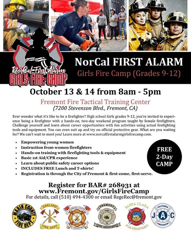 Are you a young lady between the 9th and 12th grade and interested in a career in the Fire Service? Come check out the NorCal First Alarm Girls Fire Camp to get a hands on orientation of what it's like to be a professional firefighter. #firefighter #santaclara #servicewithoutlimits @chief_miller @thinredline_families @santaclara_fd