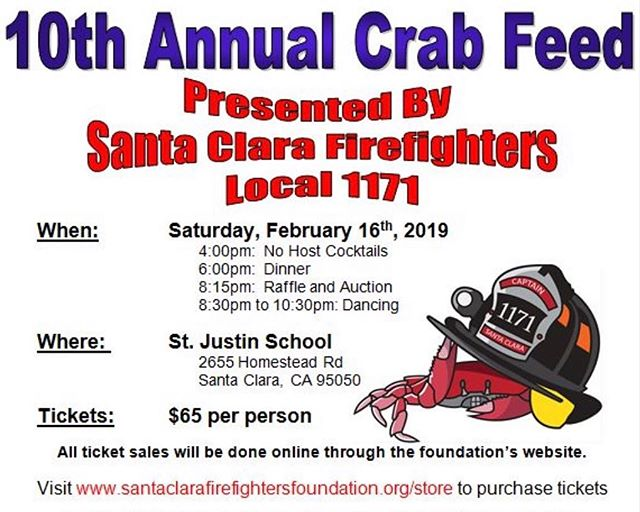 This will be our 10th Crab Feed!  Come help make it the best one yet! . . #santaclara #cityofsantaclara #firefighters #firedepartments #communityservice #firedepartment #fire #firefighter #santaclaracounty #911 #chiefmiller #wildland #instagood #california #ca #nonprofit #charity #community #instagood