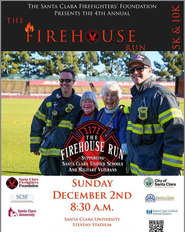 🚒The 4th annual Firehouse Run is this tomorrow! The race WILL begin by 0830 a.m. on Sunday, December 2nd. We want you to have a smooth and enjoyable experience whether or not this is your first time joining us. . All proceeds support local schools and Military Vets. . It is never too late to sign up and join. Get your tickets at www.thefirehouserun.com . It is strongly recommended that you pick up your race packet today. This includes your shirt, race bib and goody bag. .👉🏾Where? Sports Basement retail store in Sunnyvale. .👉🏾When? 10am-6pm .☝🏾What if? You may pick up your race packet at the event just prior to the race, however it is not recommended to wait until last minute. . Further questions please visit our website: www.thefirehouserun.com