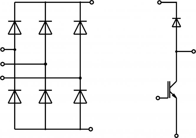 The diagram showing 6 rectifier diodes to the left and a brake chopper IGBT-transistor with blocking diode to the right.