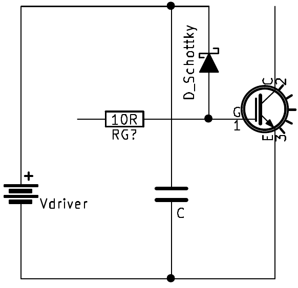 Overvoltage protection by clamping the gate to the supply with a Schottky diode.