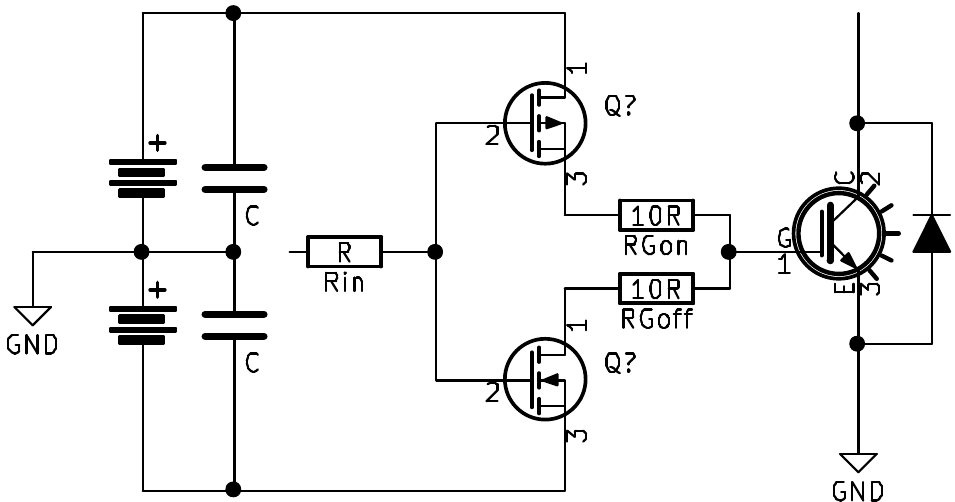 Simplified schematic of a typical gate driver output stage