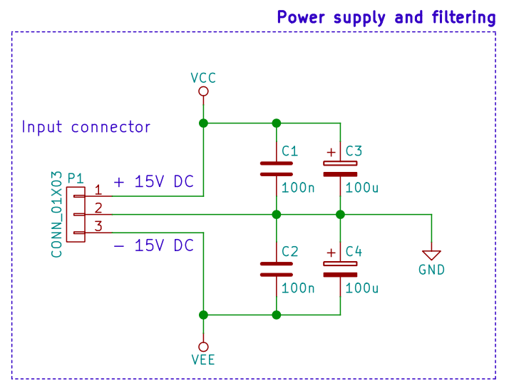 The PCBs voltage supply with filter capacitors.