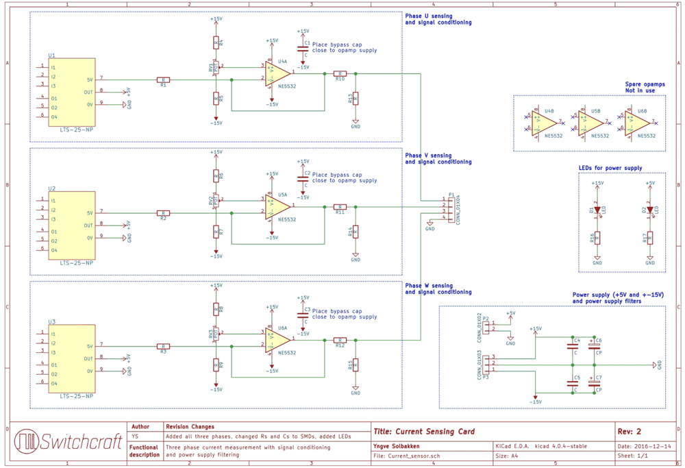 The complete schematics for the current sensor card