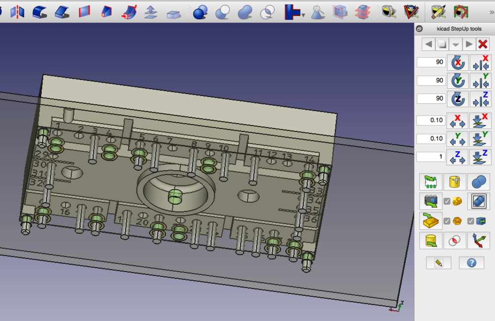 3D model placement and scaling in FreeCAD using StepUp tools (right toolbox). The component 3D-file is having more pins than our actual rectifier module - hence the mismatch between pins and holes. This is because the  package  SEMITOP3 comes in various configurations for differently rated devices.