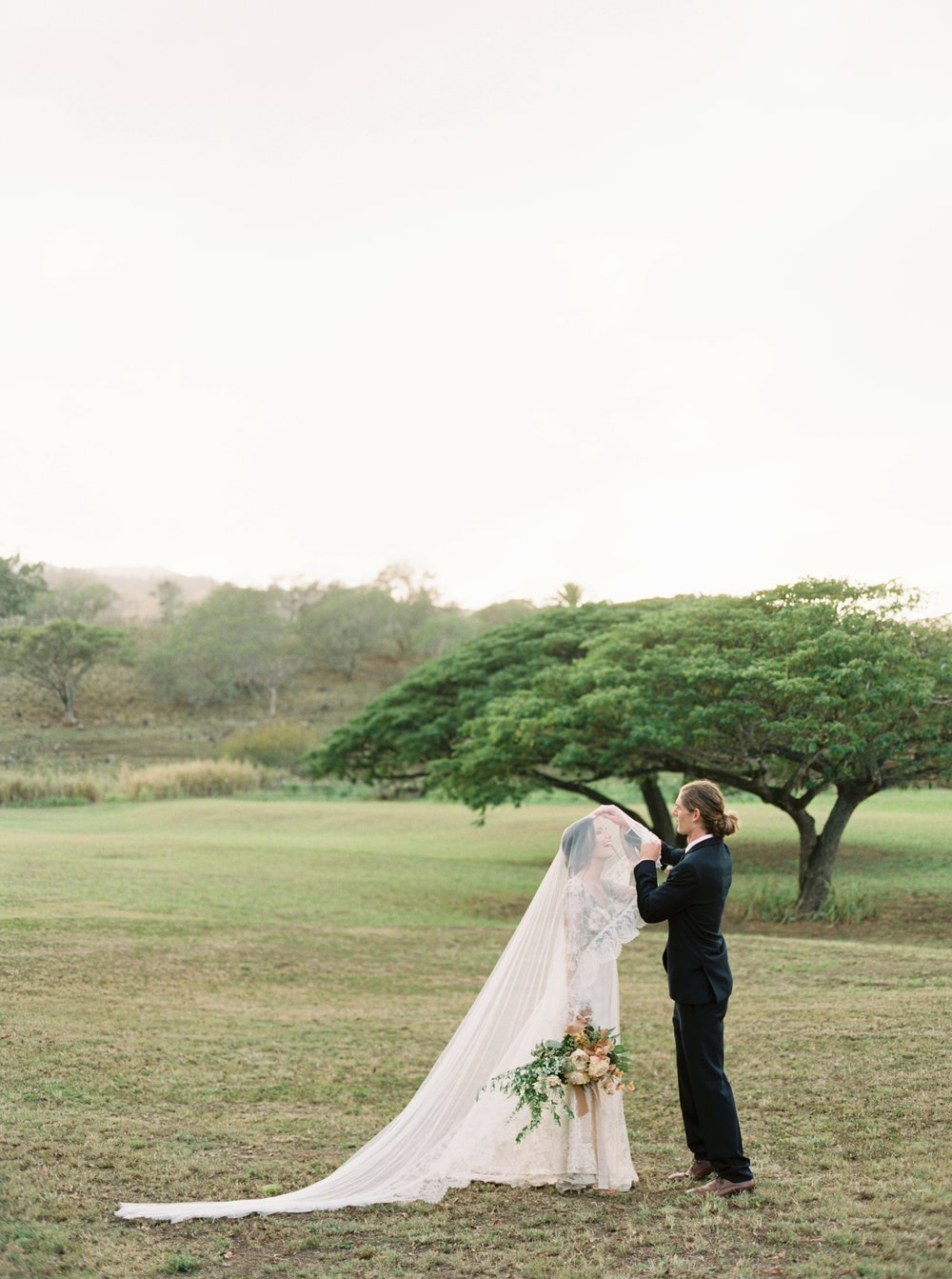 Bride and groom on Dillingham Ranch
