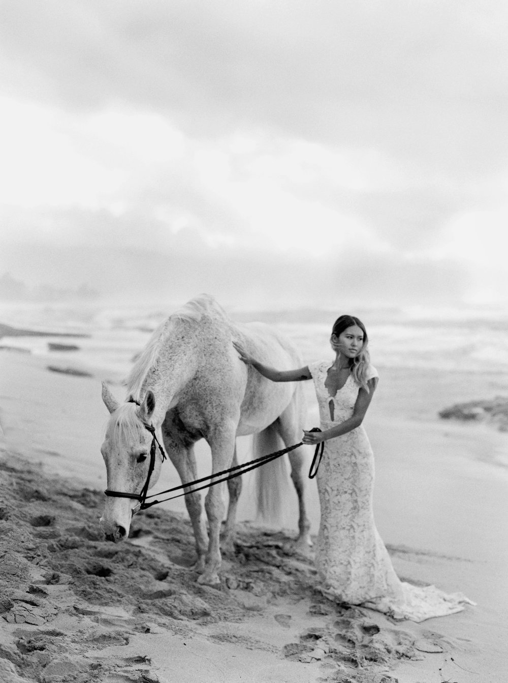 White Horse Bridal Editorial  - There's something to be said about the juxtaposition of this editorial—pure elegance.  The black and white format plays on the classic appeal, directing us to a dream state.  One where romance reigns, and the modern, effortless and glamorous bride steals her lover's heart, yet again.    Published on Dauphine Magazine