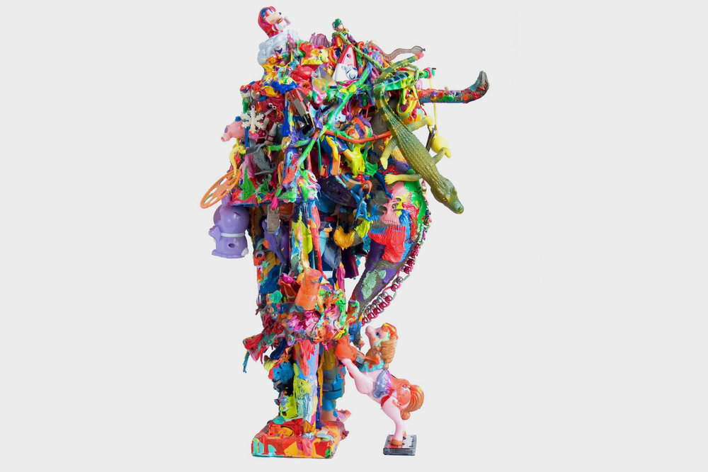 joe grillo, mutant pop sculpture 2, 2009, toys, acrylic, adhesive, 19 x 12 x 10 in, 48 x 31 x 26 cm 2.jpg