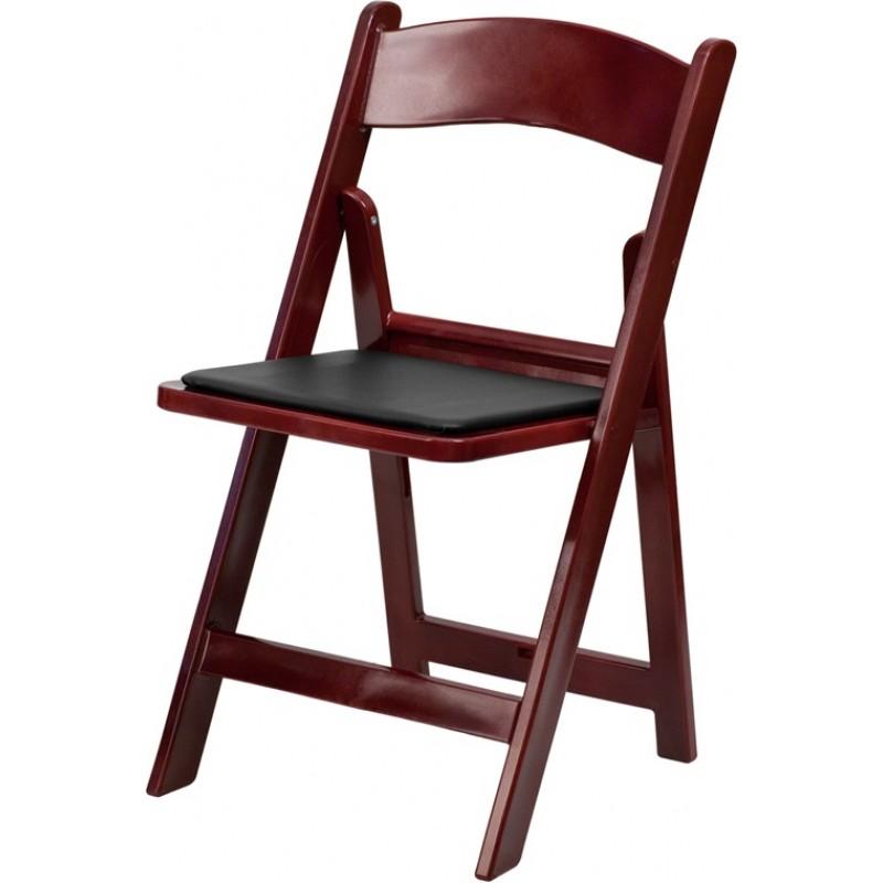 Mahogany Folding Chair with Black Cusion
