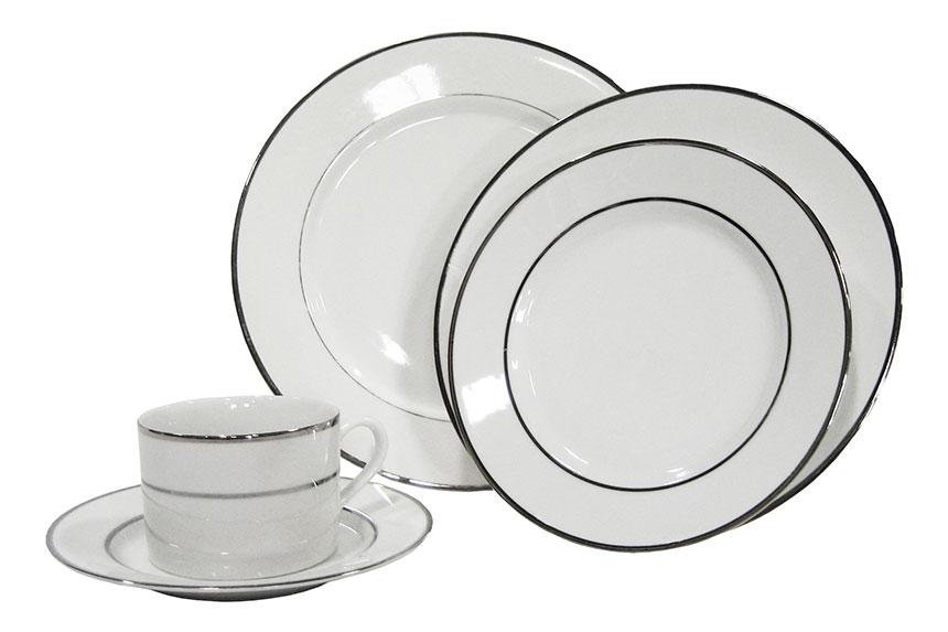 Silver Rim Elegant White Set