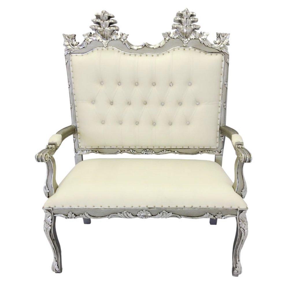 Silver Victorian Loveseat