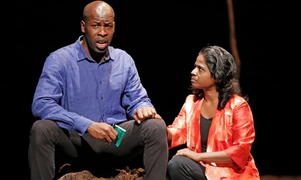 AUGUST  Moral authority … Hervé Goffings as Ezechiel and Kalieaswari Srinivasan as Nadia in Peter Brook's   The Prisoner.   Photograph: Murdo MacLeod for the Guardian.  Edinburgh International Festival. The Royal Lyceum Theatre.