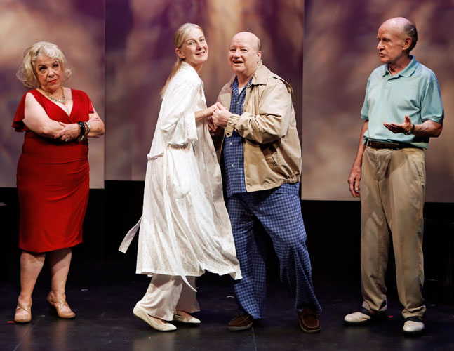 Camille Saviola, Caroline Lagerfelt, Brian Reddy and Jim Murtaugh in PINE CONE MOMENT. Photo by Carol Rosegg. Summer Shorts 2013.