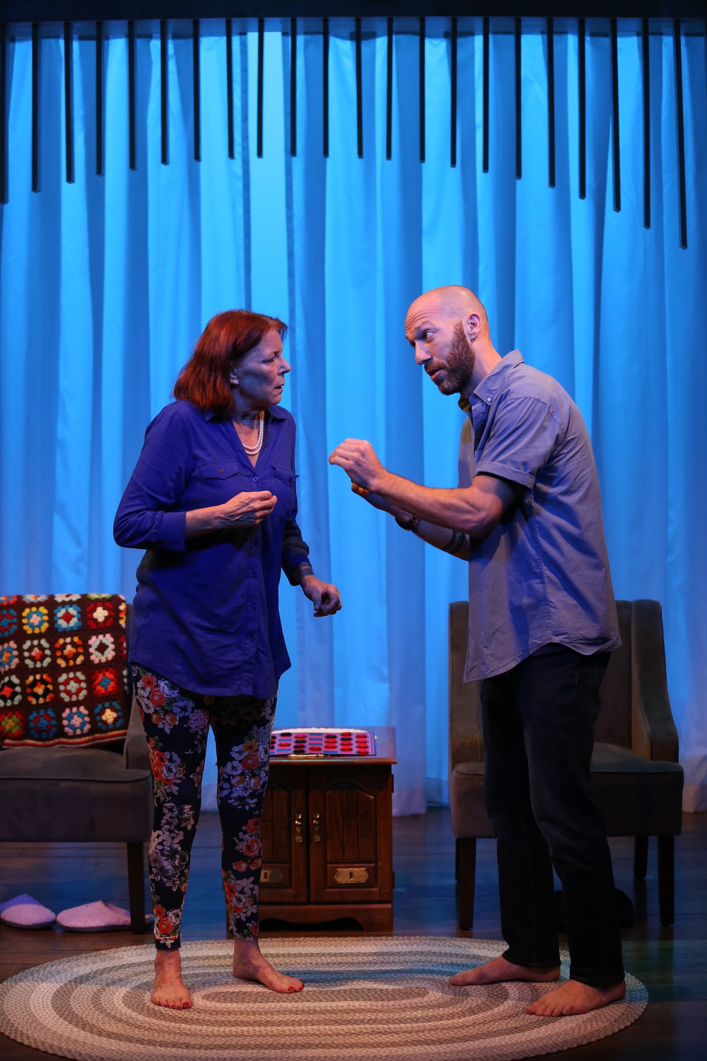 L-R: Kate Buddeke and Joel Ruben Ganz in THE LIVING ROOM by Robert O'Hara, part of Summer Shorts 2018 at 59E59 Theaters. Photo by Carol Rosegg.
