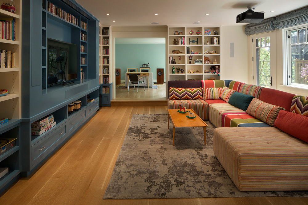 Family Playroom with Custom Multi-Colored Sofa