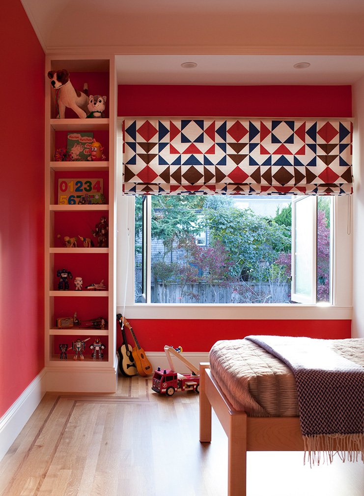 Bright Colored Kids Room with Patterned Shades