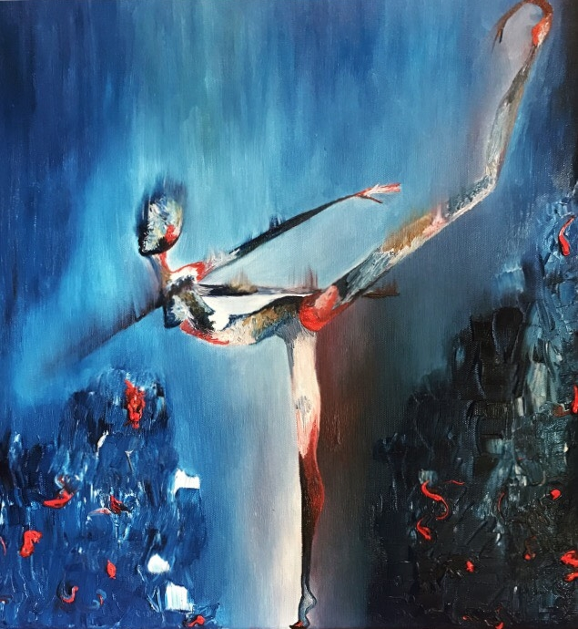 Tiny Dancer  Oil on canvas  18 in x 18 in