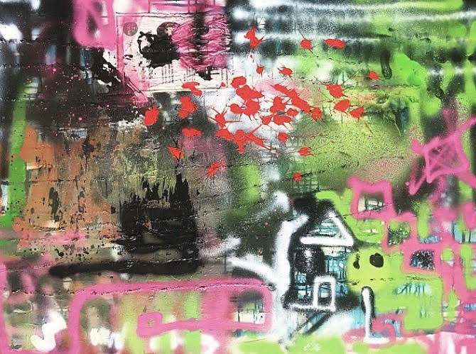 Home  Oil, acrylic, and spray paint on canvas