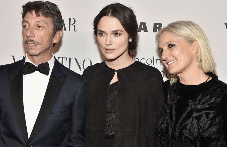 Pierpaolo Piccioli, Kiera Knightley & Maria Grazia Chiuri / Photo: Harper's Bazaar