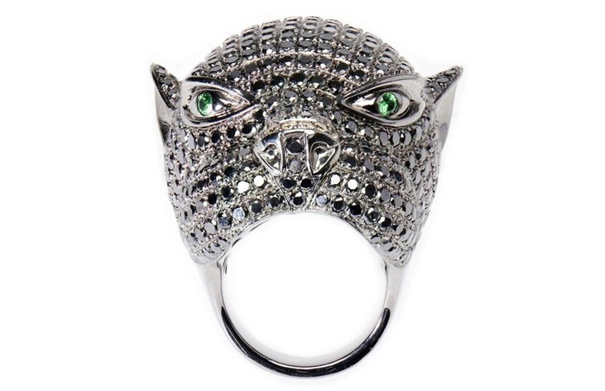 Tribal Art Panther Ring