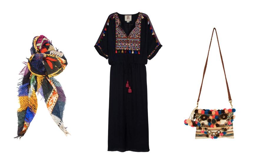 L-R: Sundial Scarf / Naya Dress / Ella Tuk Tuk Clutch