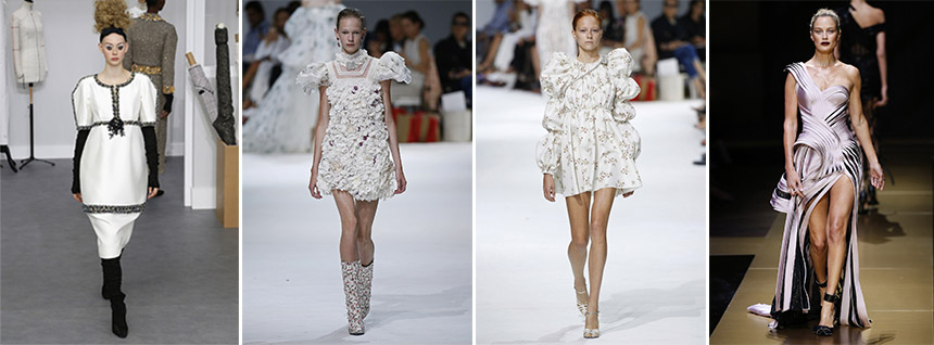 L-R: 1 Chanel, 2-3 Giambattista Valli, 4 Versace / Photos: businessoffashion.com