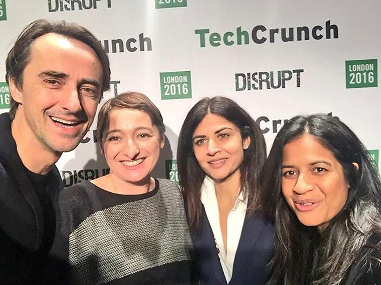 Felix Capital's Frédéric Court with Ingrid Lindgren of TechCrunch, Sonia De Rycker of Accel and Seedcamp's Reshma Sohoni / Credit @felixcapital