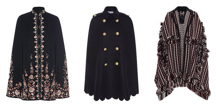 L-R: VILSHENKO Erin Cape, RED VALENTINO Scalloped Cape with Crest Buttons, BURBERRY Knit Jacquard Blanket Cape