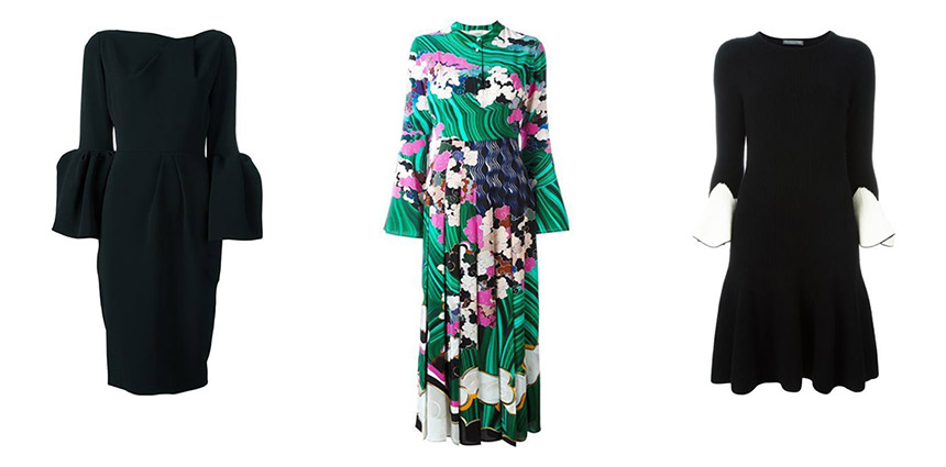 L-R: ROKSANDA Margo Long Sleeve Crepe Dress, MARY KATRANTZOU Desmine Printed Crepe de Chine Dress, ALEXANDER MCQUEEN Knit Flared Dress