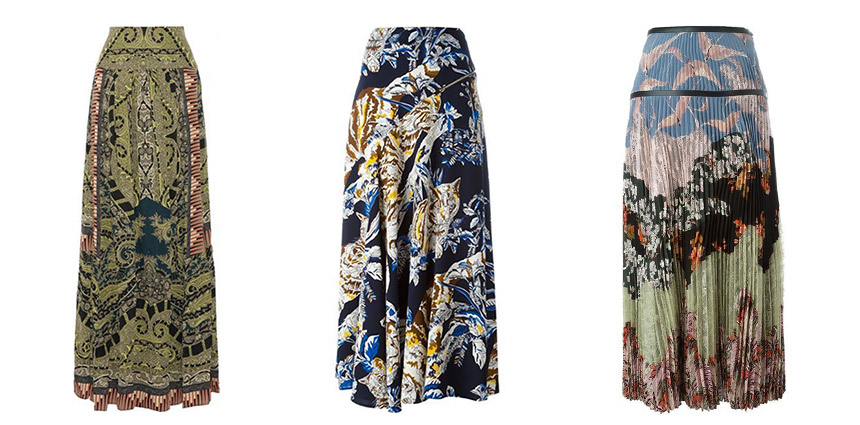 L-R: ETRO Paisley-Print Silk Maxi Skirt, STELLA MCCARTNEY Cat Print Skirt, VALENTINO Garden Party Maxi Skirt