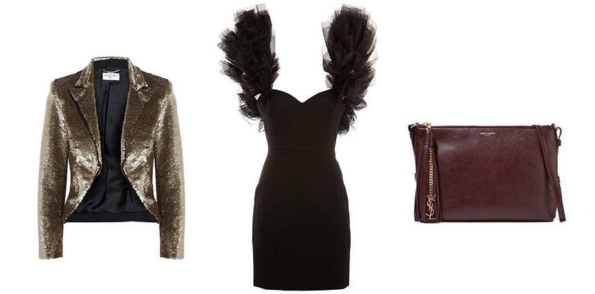 L-R: Cropped Sequined Crepe Jacket, Layered Shoulder Mini Dress, Monogramme Teen Leather Shoulder Bag
