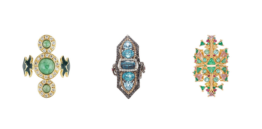 L-R: SABINE GETTY Trinita Verde Ring, WENDY YUE Tourmaline & Blue Zircon Ring, FERNANDO JORGE Fusion Cross Ring