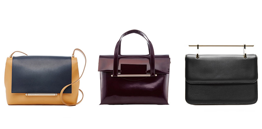 L-R: DELPOZO Cross Carry Bag, DELPOZO Shoulder Bag, M2MALLETIER La Fleur du Mal Bag