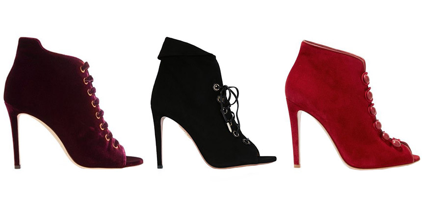 L-R: JIMMY CHOO Mavy Velvet Boots, AQUAZZURA Lace-Up Boots, GIANVITO ROSSI Leather-Trimmed Suede Ankle Boots