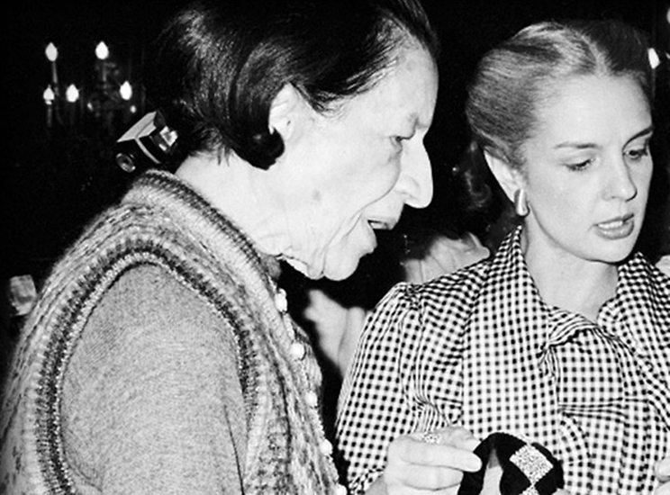 Carolina with Diana Vreeland at the Metropolitan Club in New York, 1981