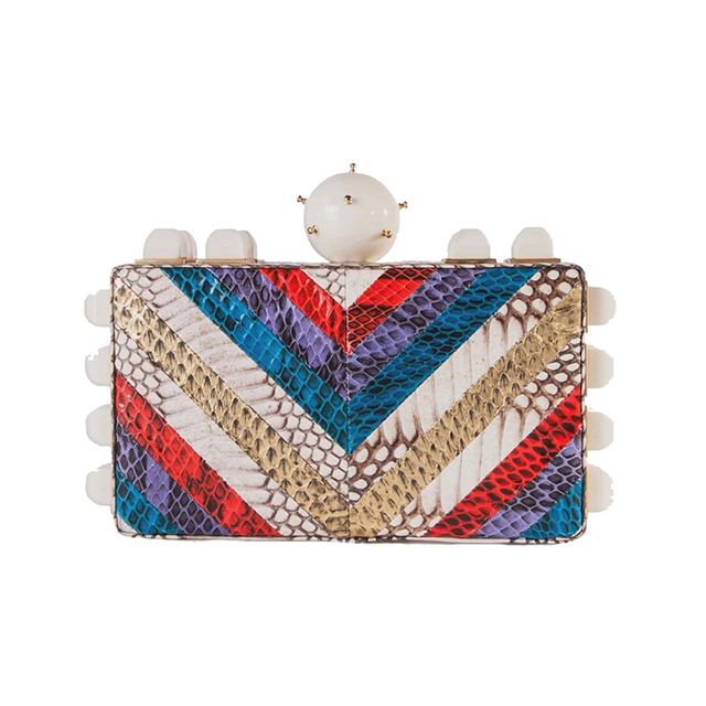 TONYA HAWKES   B old architectural box clutches from this sought-after accessories designer.