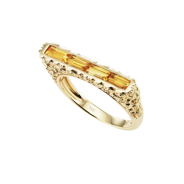 JANE TAYLOR Rosebud Skinny Baguette Bar Ring £659