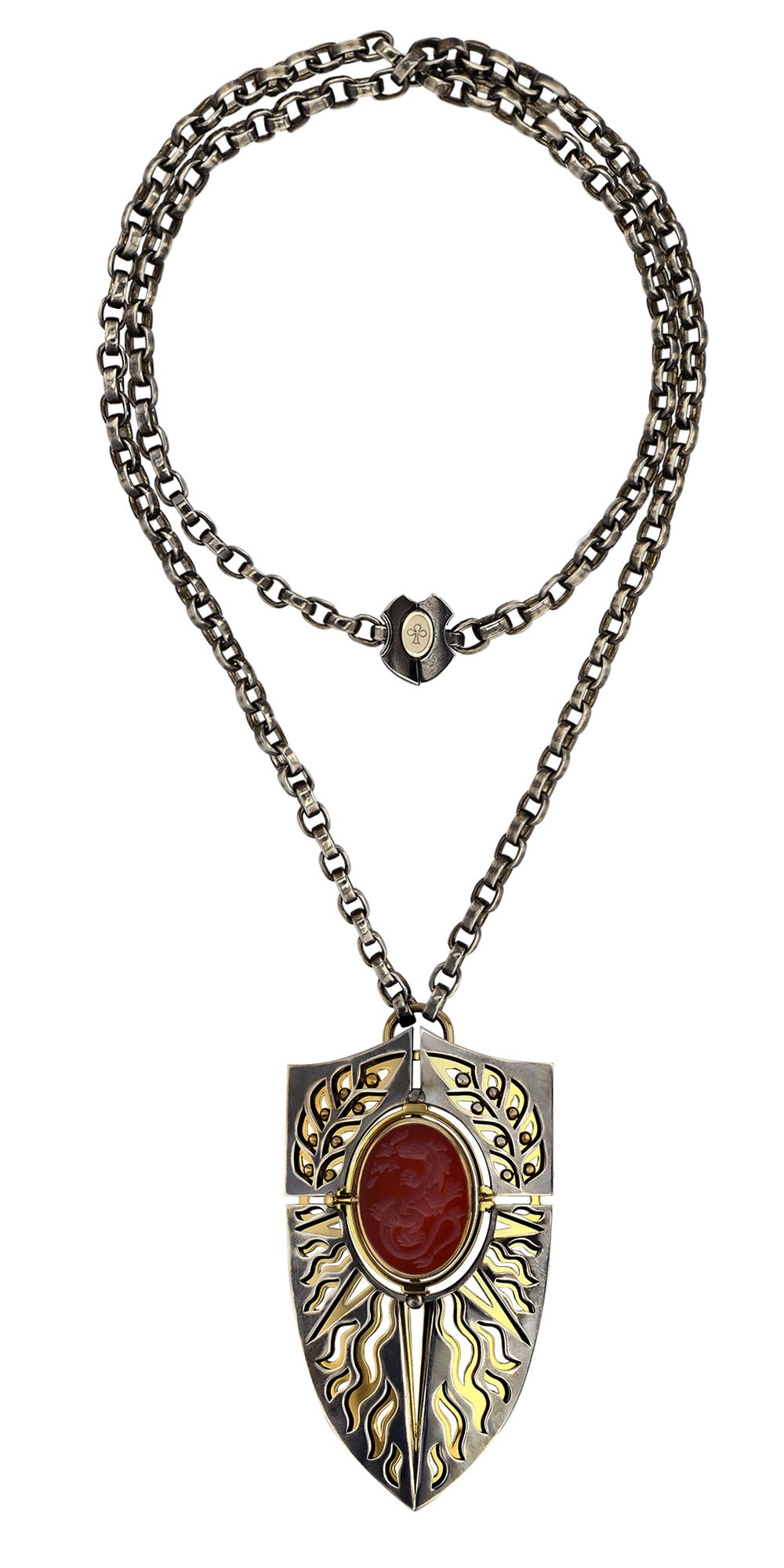 The Fire Pendant (Silver, Yellow Gold and Diamond pendant with a rotating cornaline centerpiece).