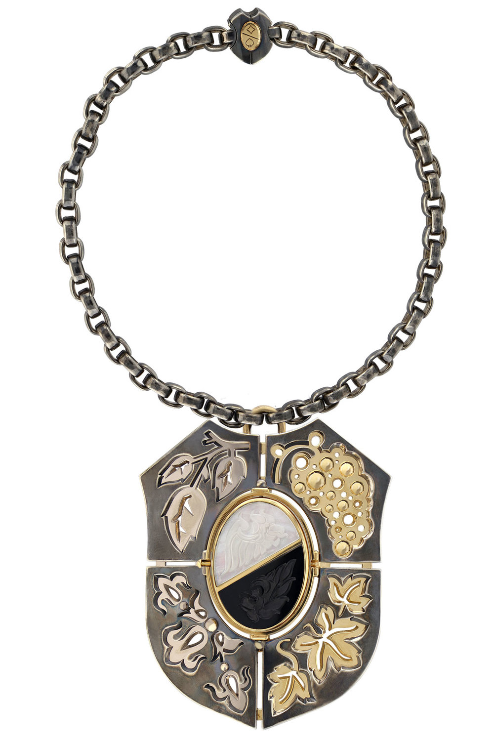 Large Air & Earth Necklace (  Silver, White, Yellow Gold and Diamond necklace with rotating onyx and rock crystal   centerpiece  )