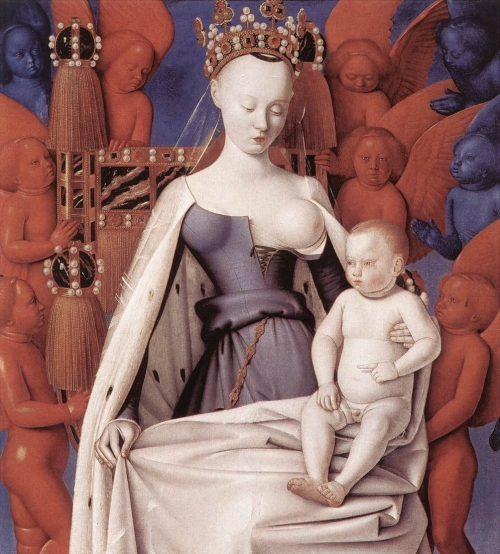 Jean Fouquet. Virgin and Child Surrounded by Angels , circa 1450. Koninklijk Museum voor Schone Kunsten, Antwerp