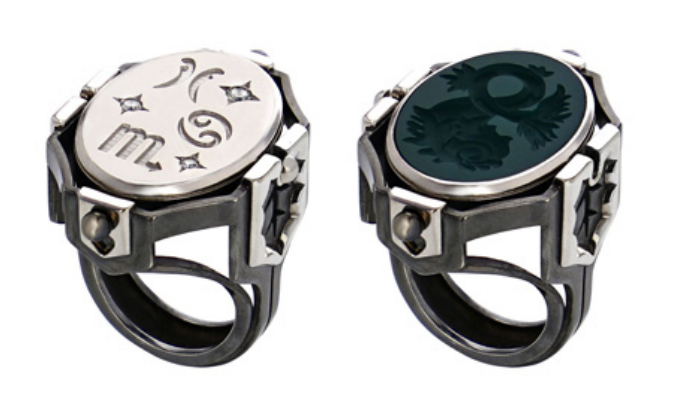 Large Water Ring (Silver, White Gold, and Diamond ring with rotating green agate centerpiece.)