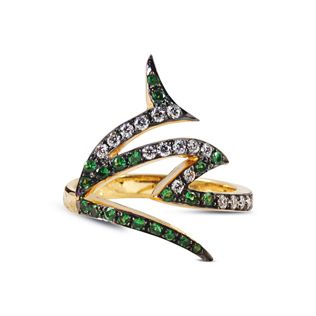 KAVANT & SHARART Le Phoenix Claw Tsavorite & Diamond Ring £1,725